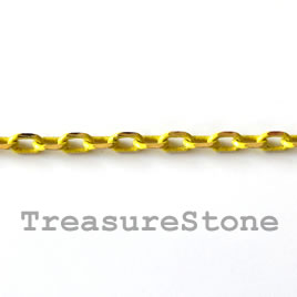 Chain,brass,yellow-gold finished, 2x4mm rectangle.Pkg of 1 meter