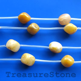 Bead, yellow jade, 14x15mm beads. 10pcs