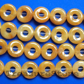 Bead, yellow jade, 10mm round donut. 16-inch strand.