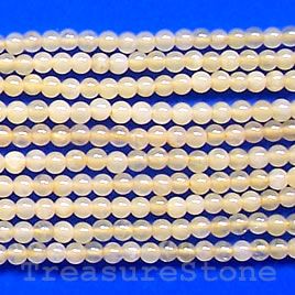 Bead, yellow jade, 2mm round. 16-inch strand.