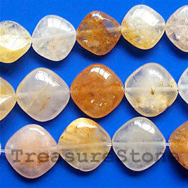 Bead, yellow quartz, 13mm flat diamond. 16-inch strand.