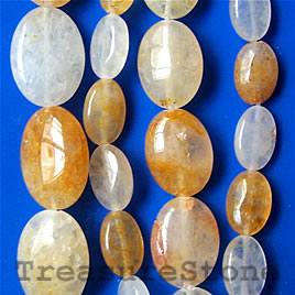 Bead, yellow quartz, 10x14mm flat oval. 16-inch strand.