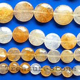 Bead, yellow quartz, 12mm flat Round. 16-inch strand.