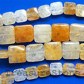 Bead, yellow quartz, 12mm flat square. 16-inch strand.