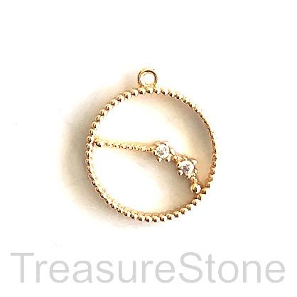 Pave Charm, 18k gold-plated brass, 14mm Aries, zodiac sign. ea