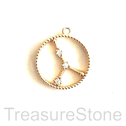 Pave Charm, 18k gold-plated brass, 14mm Cancer, zodiac sign. ea