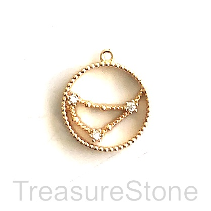 Pave Charm, 18k gold-plated brass, 14mm Capricorn,zodiac sign.ea