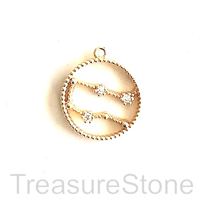 Pave Charm, 18k gold-plated brass, 14mm Gemini, zodiac sign. ea