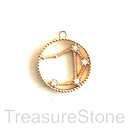 Pave Charm, 24k gold-plated brass, 14mm Libra, zodiac sign. ea