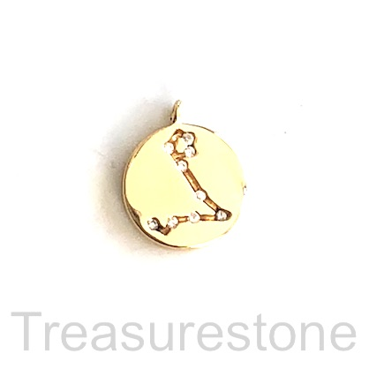 Pave Charm, 18k gold-plated brass, 11mm Pisces, zodiac sign. ea