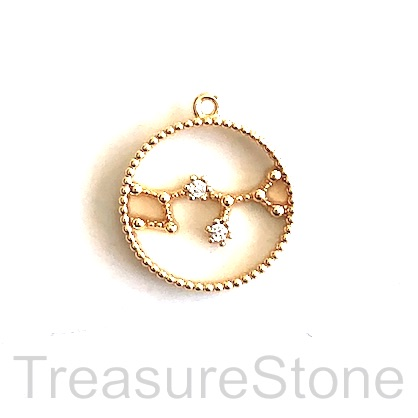 Pave Charm, 24k gold-plated brass, 14mm sagittarius, zodiac. ea
