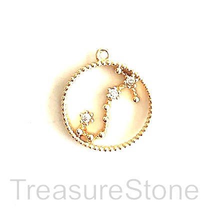 Pave Charm, 18k gold-plated brass, 14mm Scorpio, zodiac sign. ea