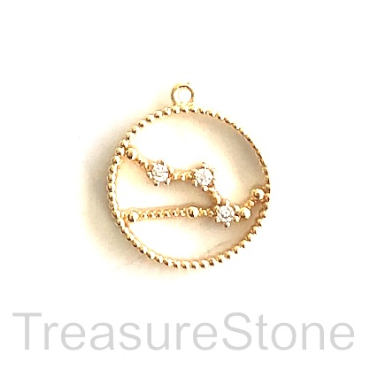 Pave Charm, 18k gold-plated brass, 14mm Taurus, zodiac sign. ea