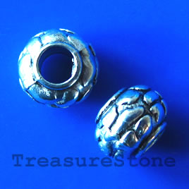 Bead, antiqued Silver Finished, 7x10mm, large hole, 4mm. 10pcs