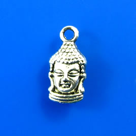 Charm,silver-finished, 8x14mm buddha head. Pkg of 10.