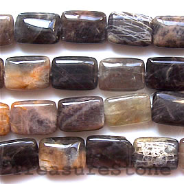 Bead, black sunstone, 18x25mm flat rectangle. 16-inch strand