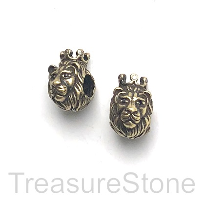 Bead, brass, antiqued brass, 9x14mm lion head w crown. Ea