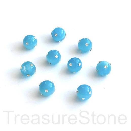 Bead, pave cat's eye glass with rhinestone,8mm round, blue. 4pcs
