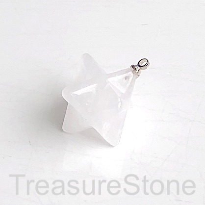 Charm/ Pendant, clear crystal quartz, 17x19mm Merkaba Sta. Each.
