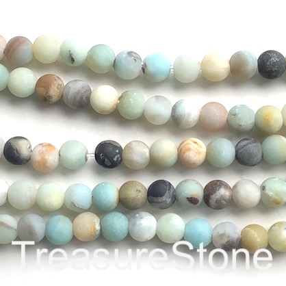 "Bead, colour amazonite,8mm round,matte,large hole, 2mm. 14.5"",48"
