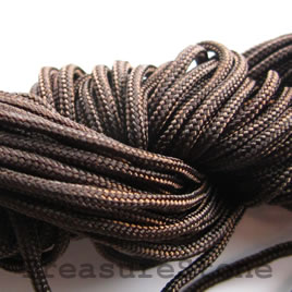 Cord, nylon, brown, 1.5mm. Sold per pkg of 18 feet