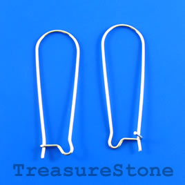Earwire, stainless steel, 38mm kidney, open loop. Pkg of 4.