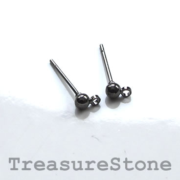 Earstud, black-colored brass, 3mm ball with closed loop.12 pairs