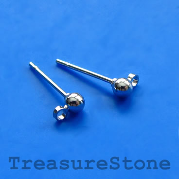 Earstud, Rhodium-finished brass, 3mm ball, closed loop. 12 pairs