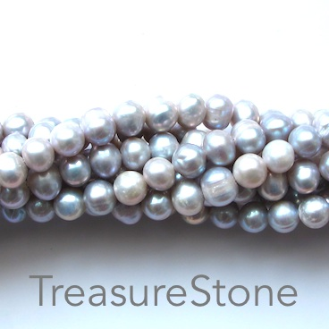 Pearl, freshwater(dyed), grey, 6x7mm potato. B grade. 16-inch.