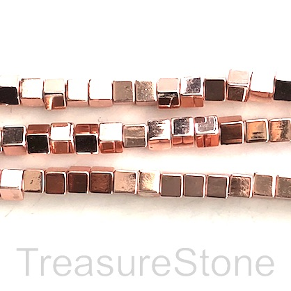 "Bead, hematite, 4mm cube1, large hole 2.5mm rose gold. 15.5"", 89"