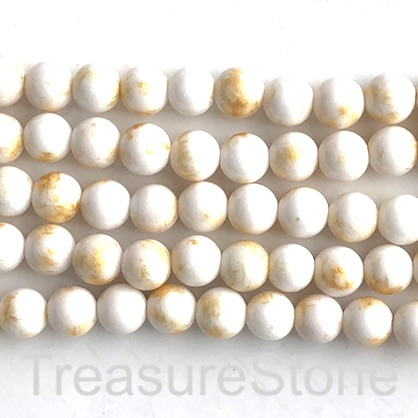 Bead, white jade, gold foil, 8mm round, 16-inch, 49pcs