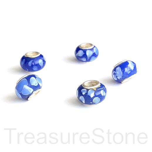Bead,lampworked,8x12mm rondelle,silver centre, large hole:4mm.ea