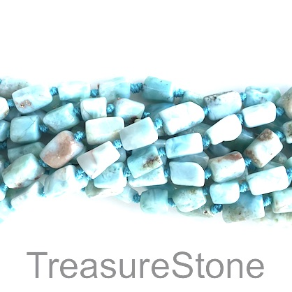 Bead, Larimar, grade C, about 6x9mm nugget. 16 inch, 37pcs