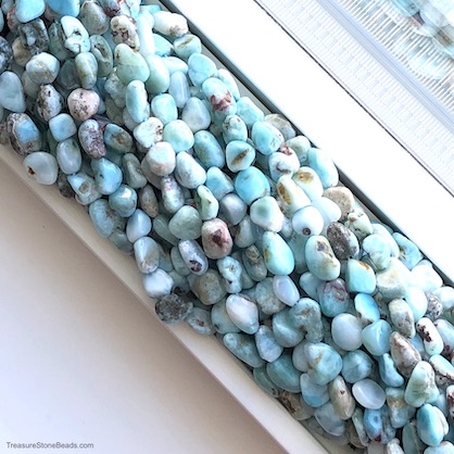 Bead, Larimar, about 8x10mm nugget. 15.5 inch