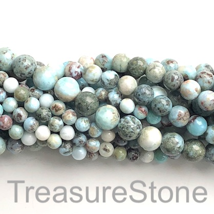 Bead, Larimar, natural, B- grade, 10mm round. 15.5 inch, 38pcs