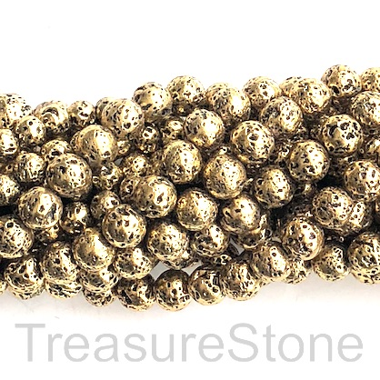 Bead, antique gold plated lava, 8mm round. 15-inch, 46pcs