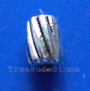 Bead, antiqued silver-finished, 3x4mm tube. Pkg of 25.