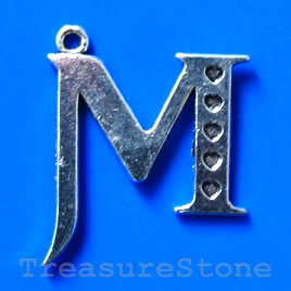 Pendant/charm, silver-finished, 24x26mm M. Pkg of 10.