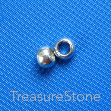 Bead, antiqued Silver Finished, 7x4mm, large hole, 3mm. 20pcs