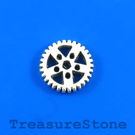 Charm/Pendant, silver-plated, 19mm steampunk gear. Pkg of 4.