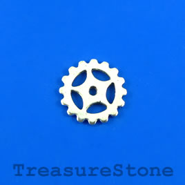 Charm/Pendant, silver-plated, 20mm steampunk gear. Pkg of 12.