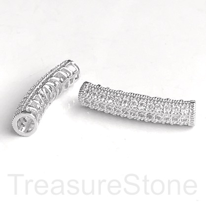 Pave Bead, 27x6mm curved tube, silver plated brass, CZ. ea