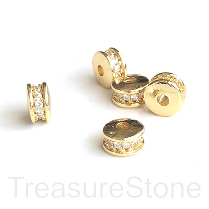 Micro Pave Bead, gold brass, clear CZ, 6x3mm disc. Ea