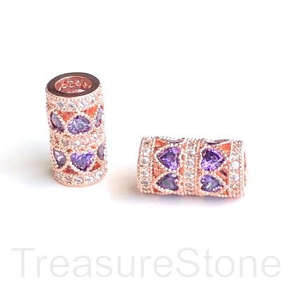 Pave Bead,7x14mm rose gold tube,purple heart CZ,large hole:4mm