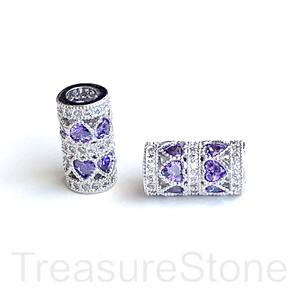 Pave Bead,7x14mm silver tube,purple heart CZ,large hole:4mm. Ea