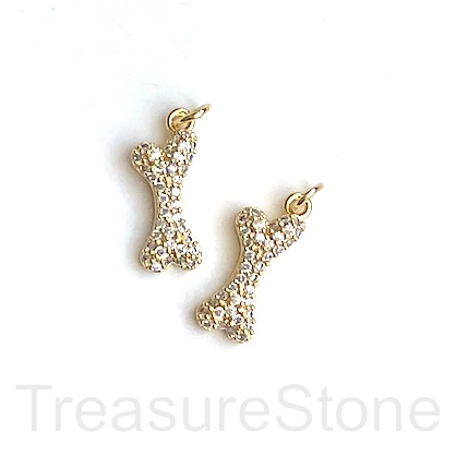 Charm, brass, 7x18mm gold dog bone, clear CZ. Ea