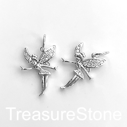 Charm, pendant, brass, CZ, silver, 18x24mm fairy, Tinker Bell.Ea