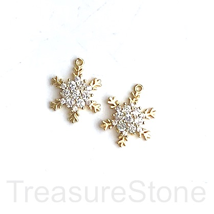 Charm, brass, 12mm gold snowflake, CZ. Ea