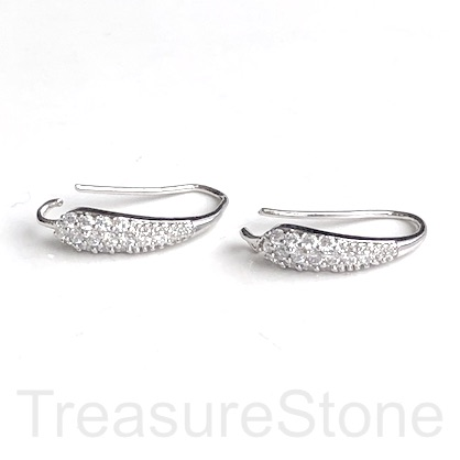 Pave Earring, silver-plated brass, CZ, 18mm hook. 1 pair