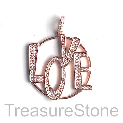 Pave Pendant, rose gold, 29mm LOVE, Cubic Zirconia. ea